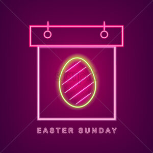 Easter egg neon calendar Vector. Easter Calendar Neon Sign. Seasonal Holiday banner, poster, icon, info graphic - starpik