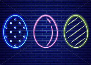 Easter neon eggs symbol Vector. Seasonal Holiday banner, poster, icon, design - starpik