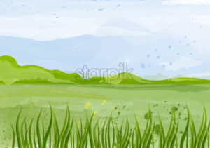 Green field Vector background illustration. Spring summer beautiful template - starpik