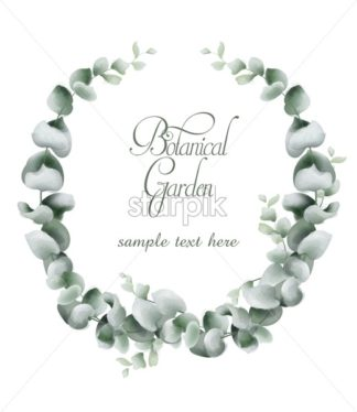 Green leaves wreath card Vector watercolor. Botanical eco leaf branches decor - starpik