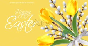 Happy Easter card with yellow tulips and willow branches. Vector realistic 3d style - starpik