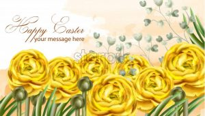 Happy Easter card yellow flowers Vector watercolor illustration. Spring floral greeting - starpik