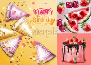 Happy birthday card with cake and birthday hats Vector watercolor. Invitation party template - starpik
