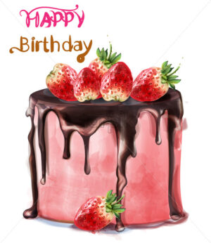 Happy birthday delicious strawberry cake Vector watercolor. Card decor - starpik