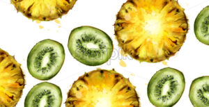 Kiwi and pineapple pattern Vector watercolor. Summer texture background - starpik