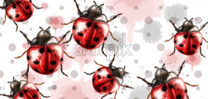 Ladybugs pattern texture watercolor Vector background. Retro style card - starpik
