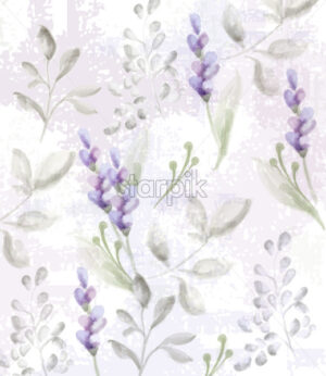 Lavender pattern Vector watercolor. Provence flowers delicate texture or fabric - starpik