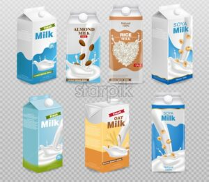 Milk boxes isolated on transparent background Vector realistic. Collection of regular milk, oats, soy, rice and almond milk. Realistic 3d illustration set - starpik