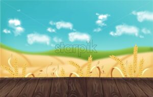 Oat fields Vector realistic background mockup. Wooden table template for product placement - starpik