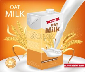 Oat milk package Vector realistic with splash. Product placement mock up. Label design. Golden background - starpik