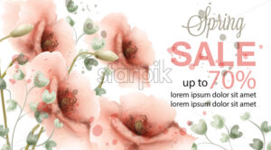 Pink poppy spring card Vector watercolor. Sale banner. Advertise poster. Invitation floral vintage composition - starpik