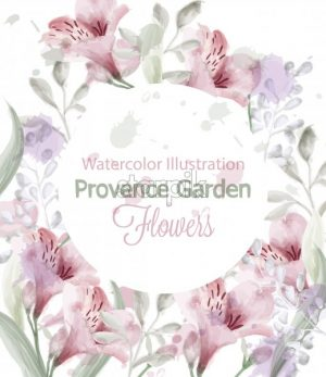 Provence flowers wreath Vector watercolor. Lavender delicate pastelate color - starpik