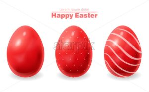 Red Easter eggs Vector realistic. Happy Holiday card - starpik