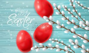 Red Easter eggs Vector realistic. Happy Holiday card with colored eggs and willow branches. Bright Blue background - starpik