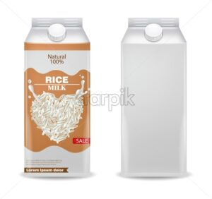 Rice milk Vector realistic product box. Label template design. 3d beans. Natural raw vegan drink - starpik