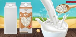Rice milk splash mock up Vector realistic. Product placement advertise. Detailed grains. Label template design. Natural healthy vegan product - starpik