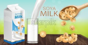 Soy milk mock up ads with splash Vector realistic. Milk box product placement. Label design. 3d detailed beans. Natural fields bokeh background - starpik