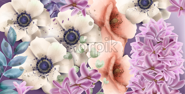 Spring flowers watercolor Vector. Vintage composition bouquet. Gerbera, lilac and pink poppy floral decor - starpik