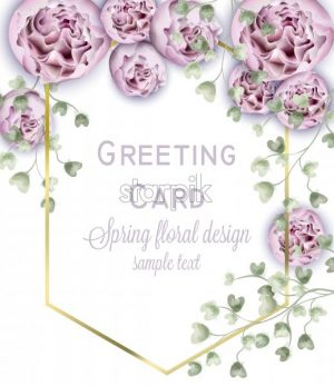 Spring peony flowers watercolor Vector frame. Beautiful floral wedding or party invitation template - starpik