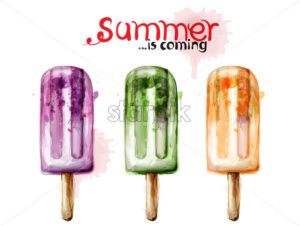 Summer ice cream watercolor Vector. Colorful juicy dessert - starpik