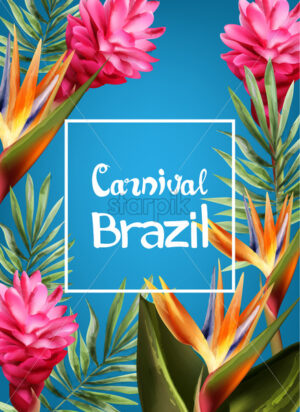 Tropic flowers exotic frame Vector watercolor. Brazil carnival festival design template - starpik