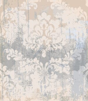 Vector rococo pattern texture. Damask ornament grunge background. Vintage royal fabric rust effect. Victorian exquisite floral template - starpik