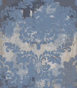 Vector rococo pattern texture. Damask ornament grunge background. Vintage royal fabric rust effect. Victorian exquisite floral template blue color - starpik