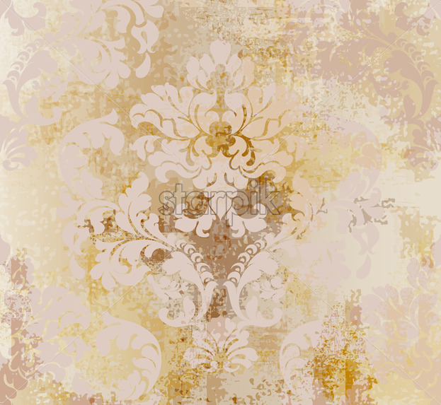 Vector rococo pattern texture. Damask ornament grunge background. Vintage royal fabric rust effect. Victorian exquisite floral template golden color - starpik