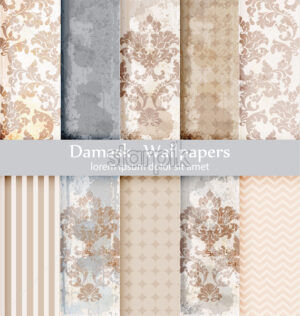Vector rococo pattern textures set. Damask ornament grunge backgrounds. Vintage royal fabric rust effect. Victorian exquisite floral templates trendy collection - starpik