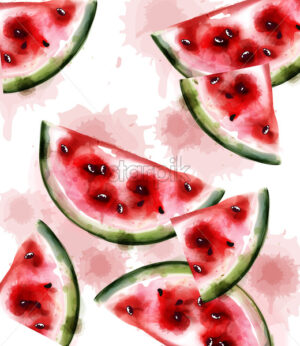 Watermelon Vector watercolor texture. Fruits pattern background - starpik