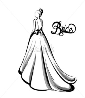 Wedding bride silhouette Vector line art. Beautiful long dress . Template for design card - starpik