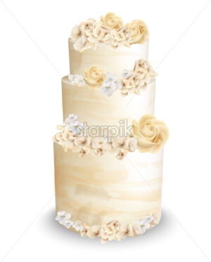 Wedding cake with flowers Vector watercolor. Vintage delicious white cake with decoration - starpik
