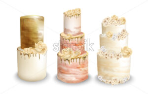 Wedding cakes Vector watercolor. Vintage delicious cakes set - starpik