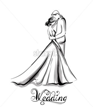 Wedding couple silhouette Vector line art. Beautiful bride and groom. Template for design card - starpik