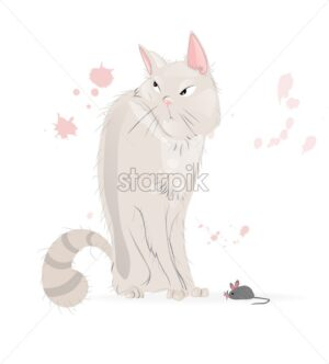 White Cat and a mouse Vector cartoon character. Pussy cat annoyed look - starpik