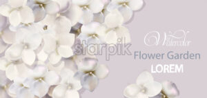 White flowers card watercolor Vector. Beautiful wedding invitation, ceremony, save the date, greeting - starpik