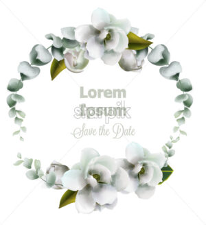 White flowers wreath watercolor Vector. Beautiful wedding invitation, ceremony, save the date, greeting - starpik