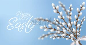 Willow branches bouquet Easter card. Happy holiday decor. Bright Blue background - starpik