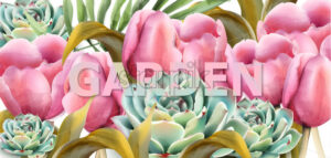 watercolor garden tulips Vector botany background. Vintage exotic greenery and tulips - starpik