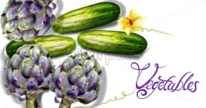 Artichoke and cucumber vegetables Vector watercolor. Spring fresh veggie - starpik
