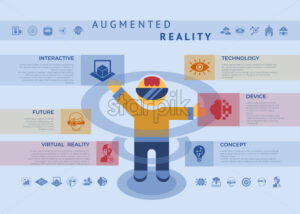 Augmented reality technology icons infographics collection, digital vector advert - starpik