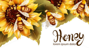 Bees making honey from sunflower Vector watercolor. Label template. Summer banner poster - starpik