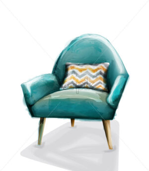Blue retro armchair watercolor Vector. Design decor vintage furniture - starpik