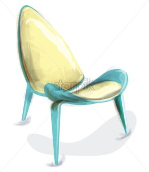 Blue retro chair watercolor Vector. Design decor vintage furniture - starpik