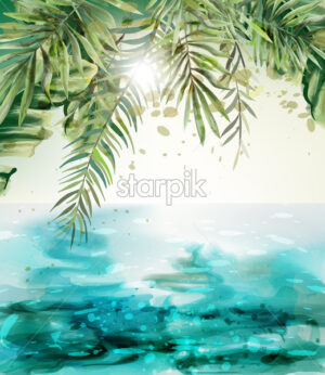 Blue seaside Summer tropic card Vector watercolor. Palm leaves and sunshine vintage design - starpik