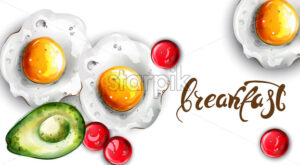Breakfast eggs and avocado Vector. Fresh menu card template - starpik