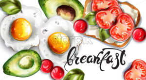 Breakfast eggs, avocado and toast Vector. Fresh menu card template - starpik