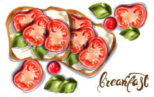 Breakfast toast with goat cheese and cherry tomatoes Vector watercolor. Delicious meal - starpik