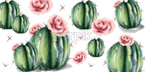 Cactus and flowers pattern Vector watercolor. Succulent summer background - starpik