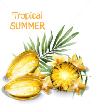 Carambola star fruit and pineapple slices Vector watercolor. Tropic juicy banner poster - starpik